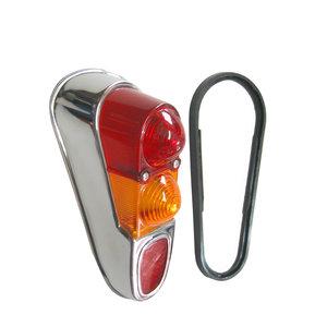 Achterlichtglas chroom linksachter Renault 4 incl. afdichtrubber