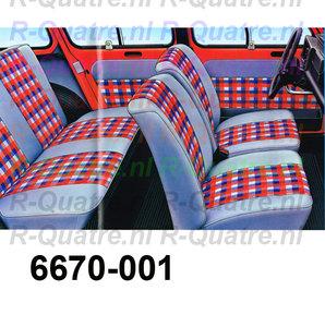 Set stoelbekleding Grijs-Rood geblokt (8delig)