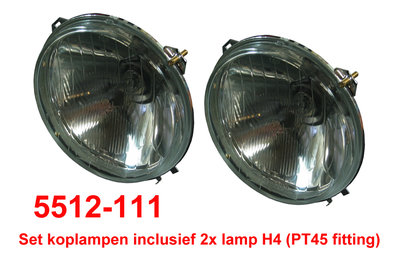 Set koplampen reflector H4 (incl H4 PT45 lamp ) prod aftermarket